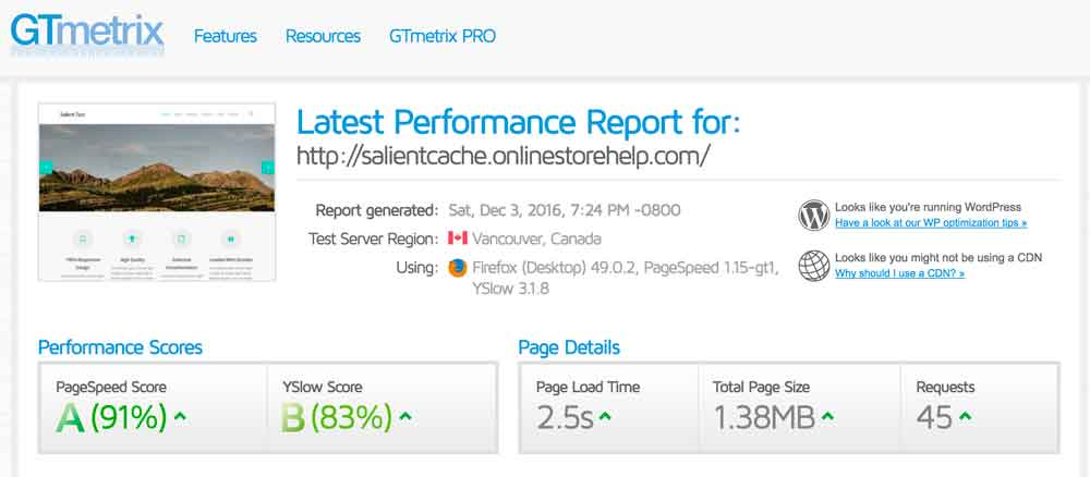 wp-fastest-cache-salient-performance